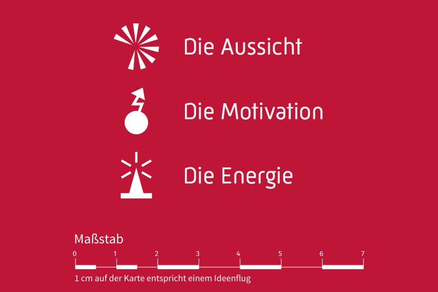 """Illustration mit Icons zu """"Aussicht"""", """"Motivation"""" und """"Energie""""."""